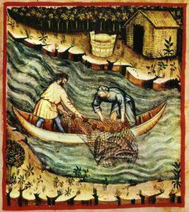 Ловля рыбы сетью, Tacuinum Sanitatis casanatensis (14th century)